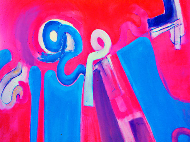 Composition in Blue and Red 1969 Acrylic on Canvas 48
