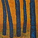 Five Blue Trees on Gold 2001